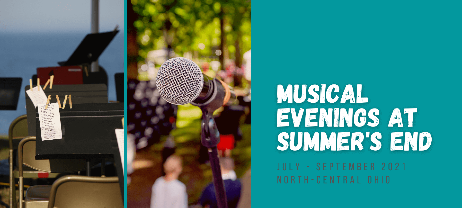 Musical Evenings at Summer's End - July-September, 2021 - with collage of outdoor park concerts