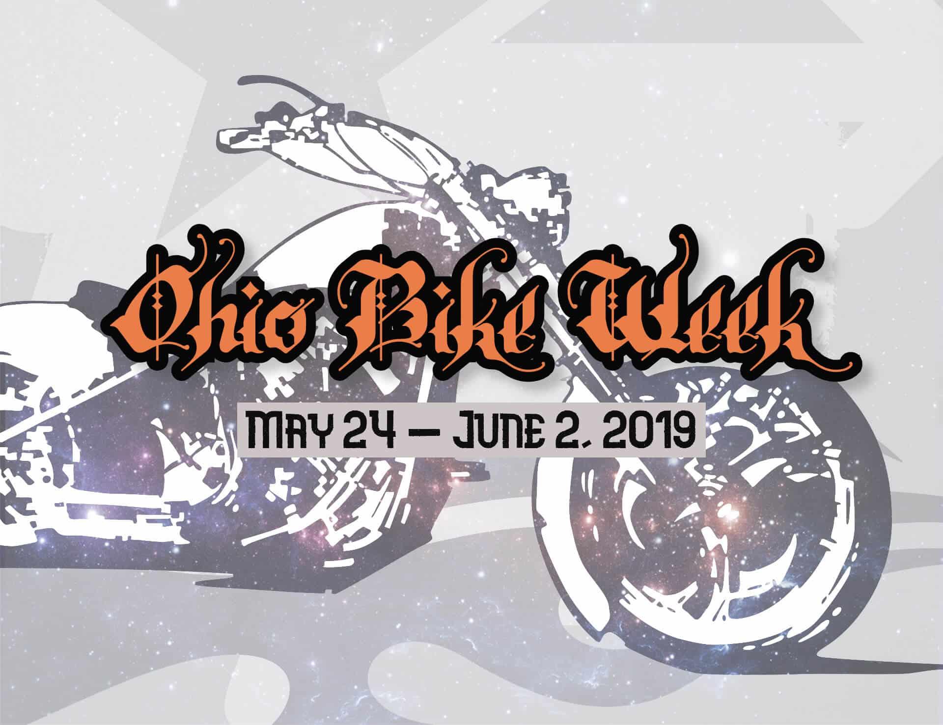 Stylized motorcycle on background of Ohio Bike Week May 24 - June 2, 2019