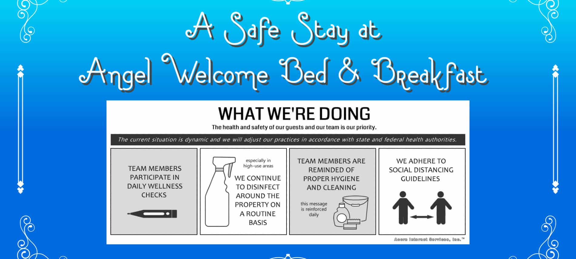 Stay Safe Precautions at Angel Welcome Bed & Breakfast