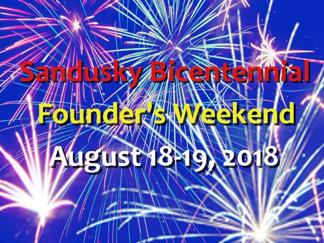 Blue background with fireworks effects - Sanducky Bicentennial Founders Weekend August 18-19 2018