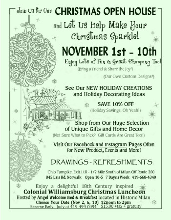 Flyer for Naturally Country Christmas Open House
