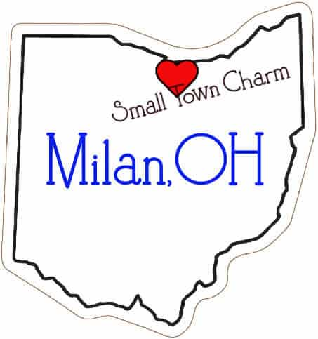 Line drawing of Ohio State with Milan marked with a red heart.