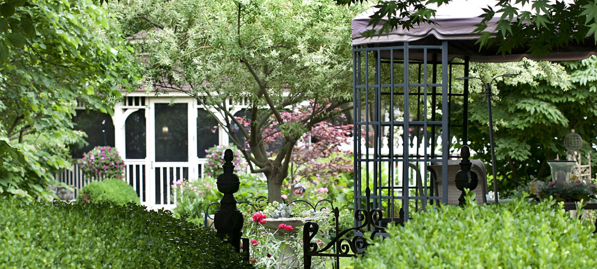 Exterior view of backyard with black fence and gate, white gazebo and lush green landscaping